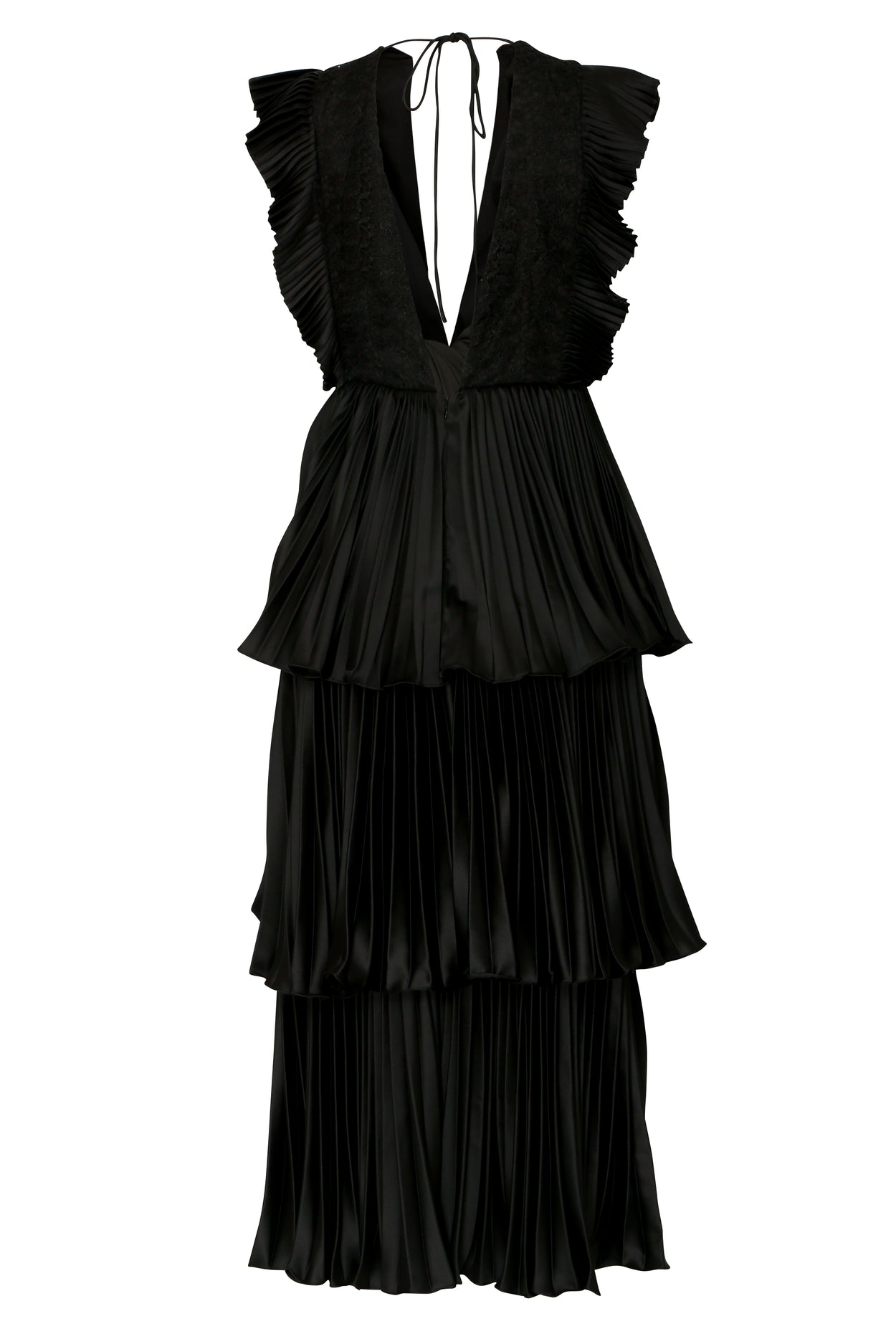 Black Satin Pleated Tiered Midaxi Dress