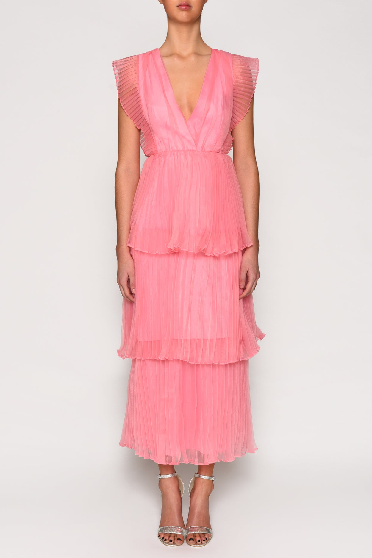 True Decadence Pink Organza Pleated Tiered Midaxi Dress