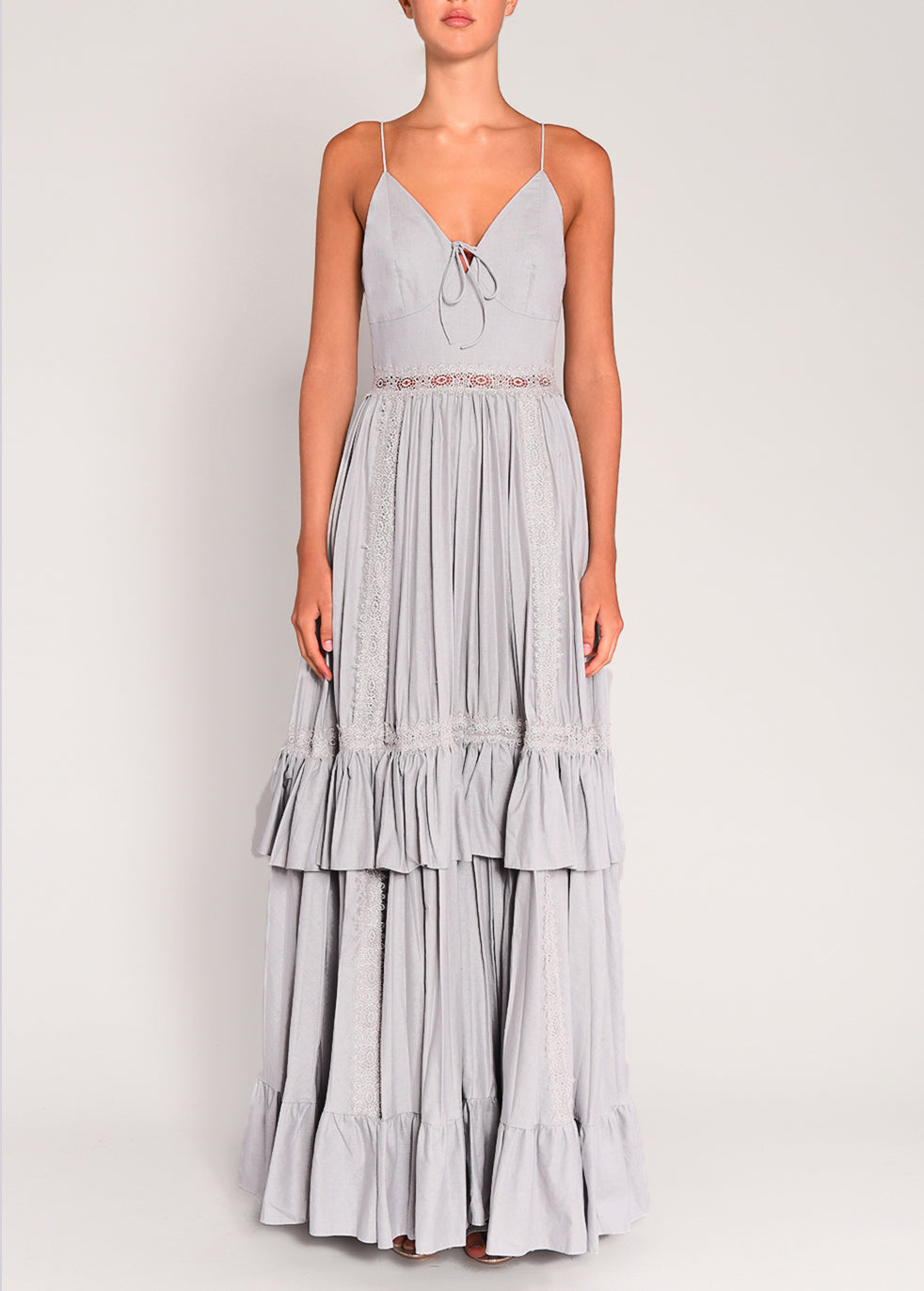 True Decadence Pale Grey Pleated Maxi Dress