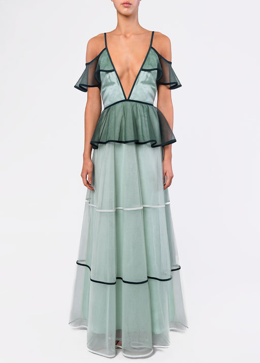 True Decadence Sea Foam Green Tiered Tulle Maxi Dress