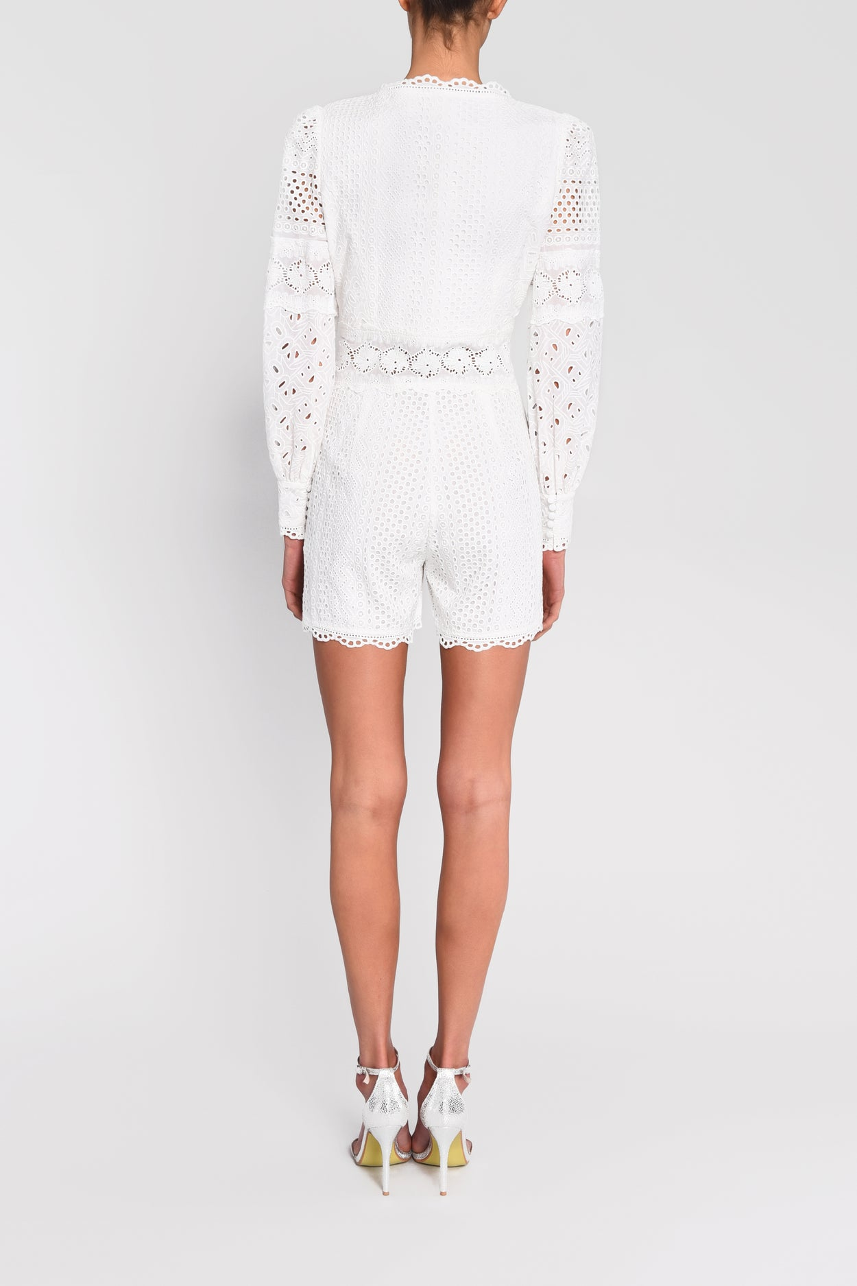 True Decadence White Broderie Long Sleeve Playsuit