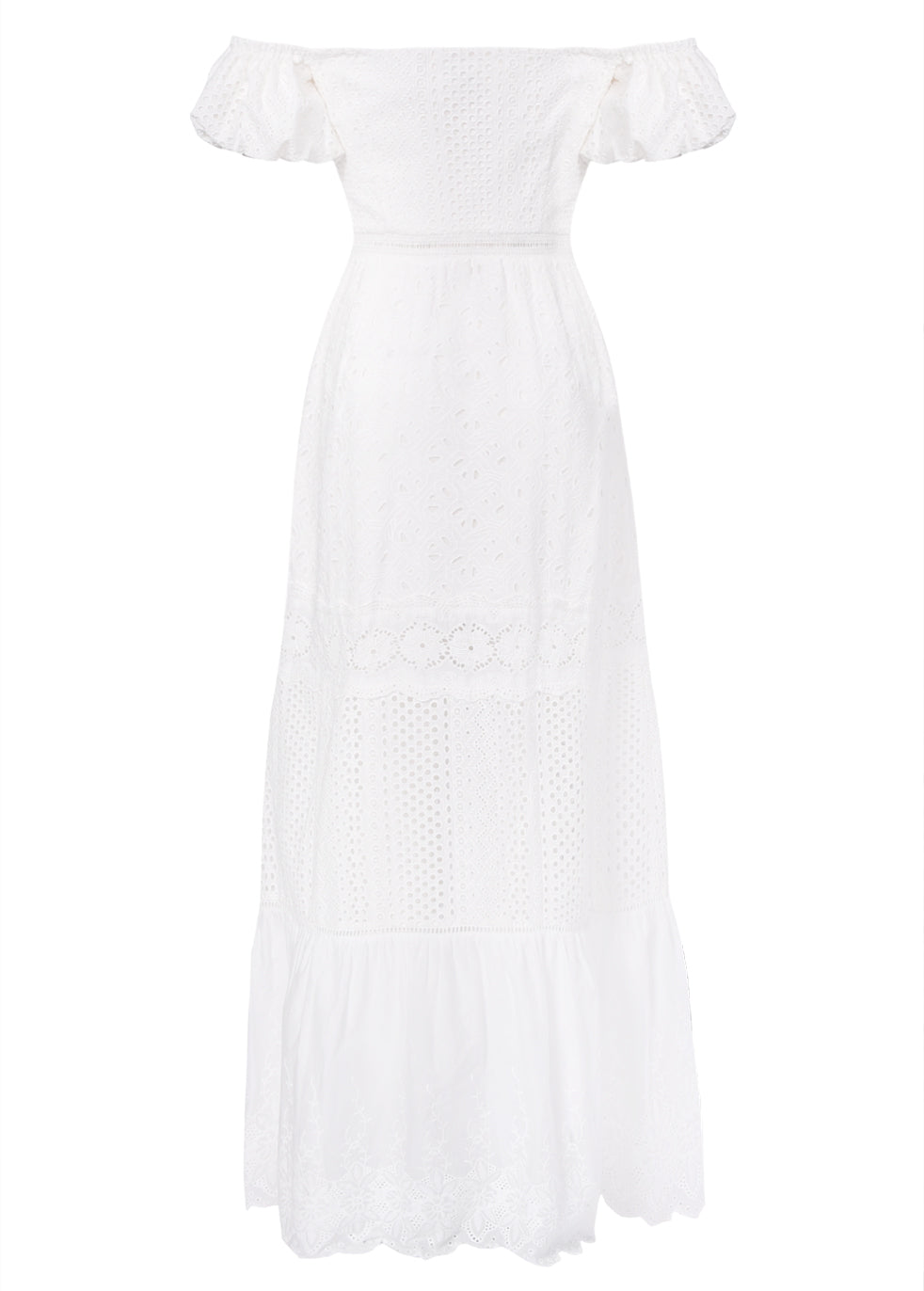 True Decadence White Broderie Bardot Maxi Dress