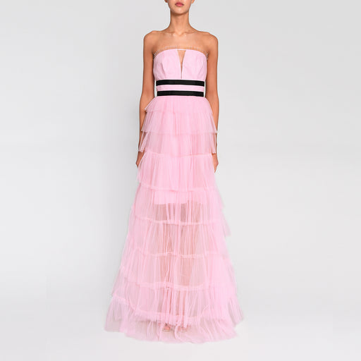 True Decadence Light Pink Strapless Tulle Layered Maxi Dress