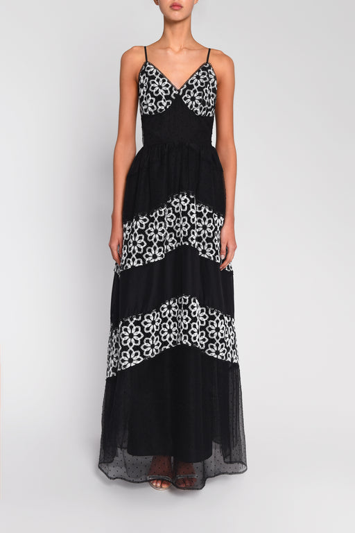 True Decadence Black Lace Organza Mix Maxi Dress