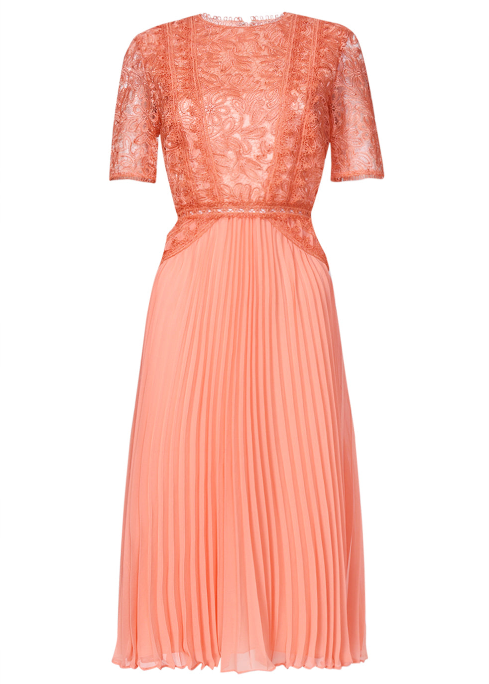True Decadence Peach Lace Midi Dress Pleated Skater Skirt
