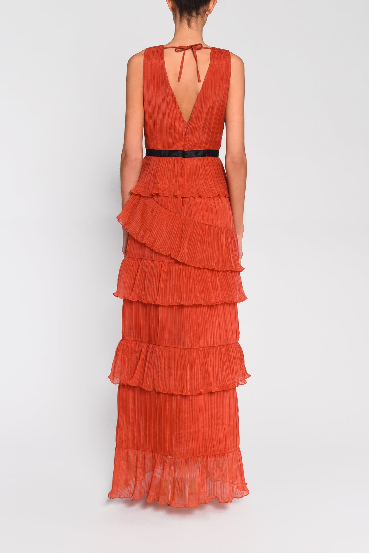True Decadence Orange Plunge Front Tulle Layered Maxi Dress