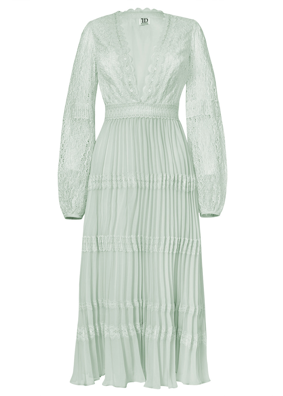True Decadence Mint Lace Long Sleeve Pleated Midi Dress