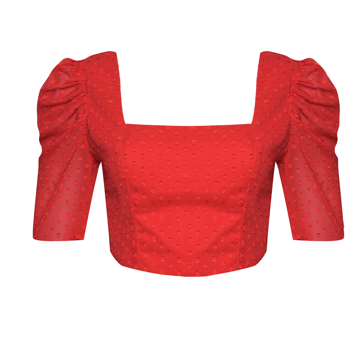 Red Dobby Spot Cropped Top