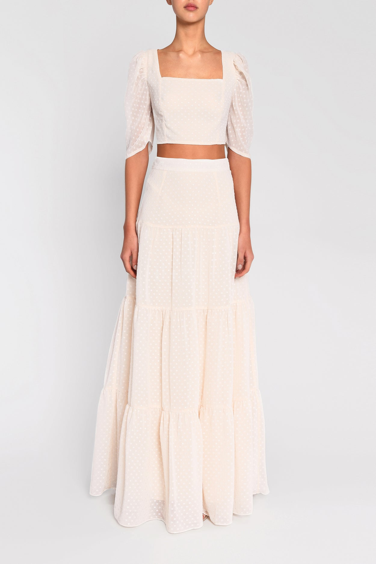Cream Dobby Spot High Waisted Maxi Skirt