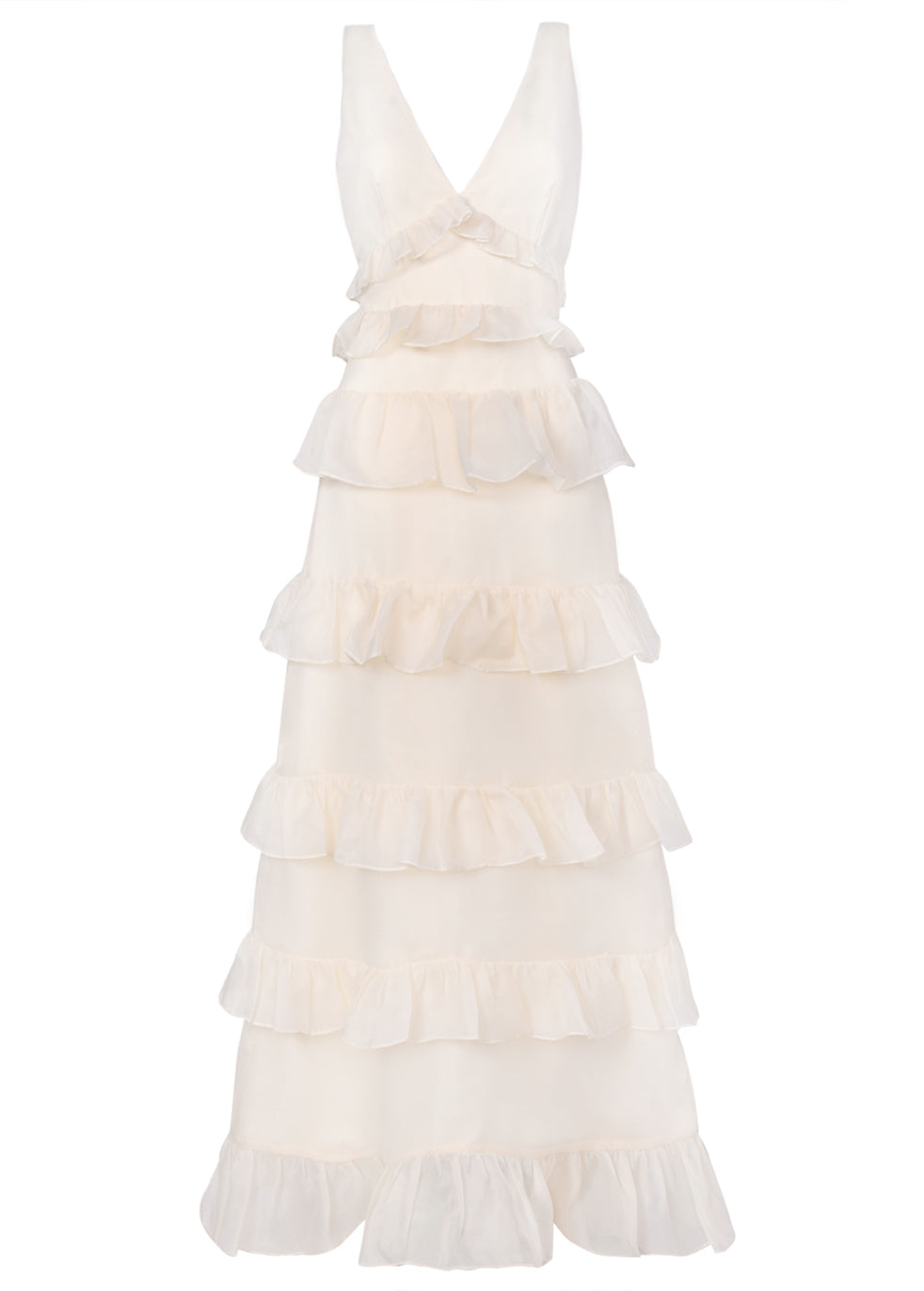 True Decadence Cream Low Back Tiered Frill Maxi Dress