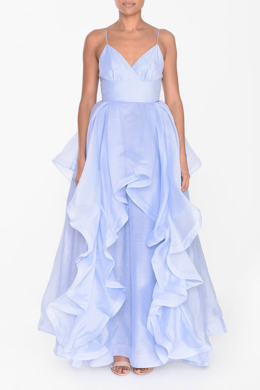 Icy Blue Ruffled Layered Gown