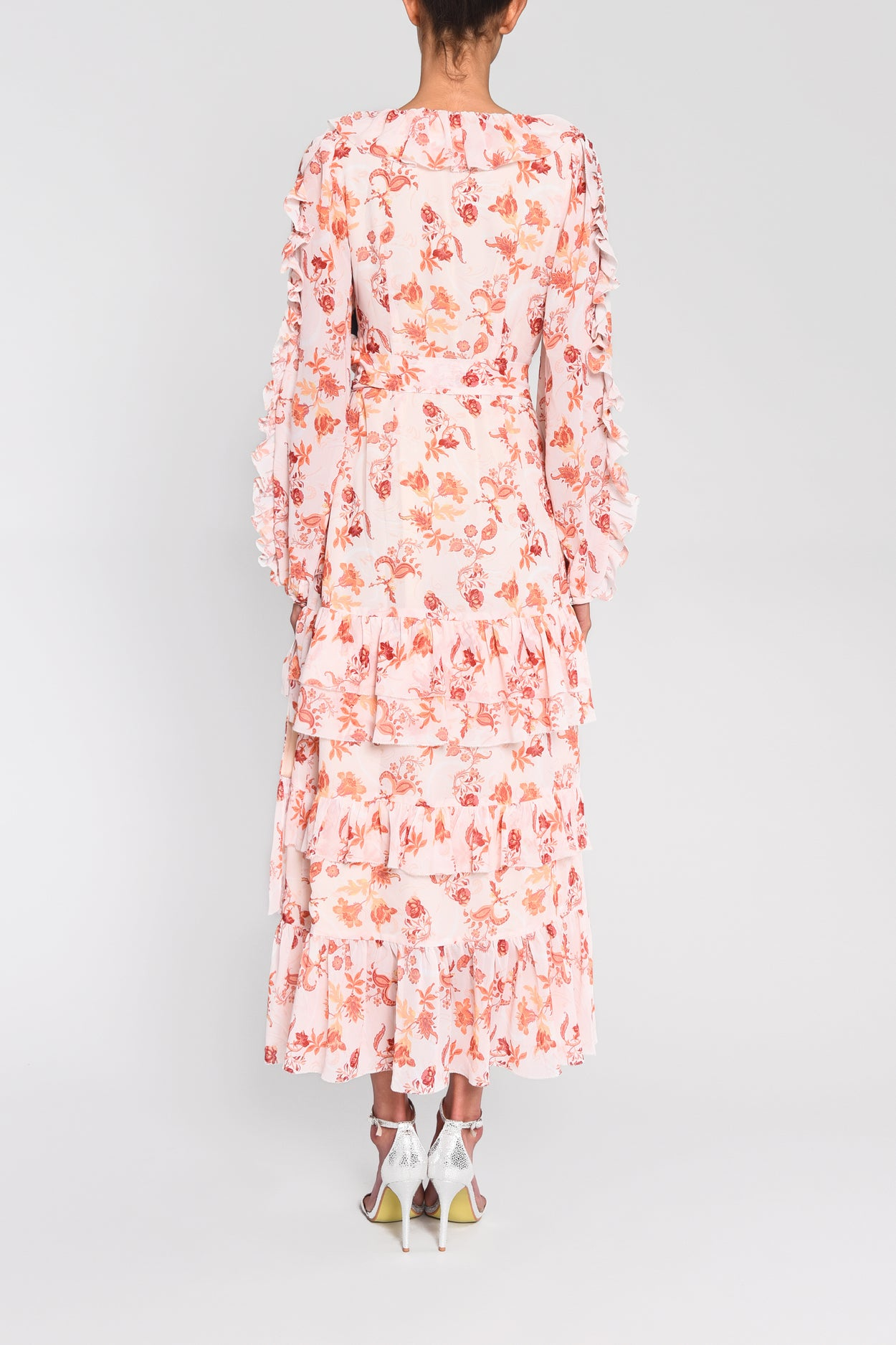 True Decadence Peach Orange Floral Wrap Midi Dress
