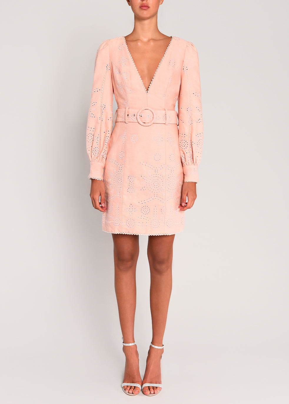 Shell Pink Broderie Belted Mini Dress