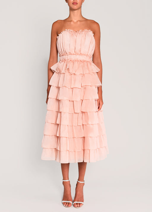 Shell Pink Organza Layered Strapless Midi Skater Dress