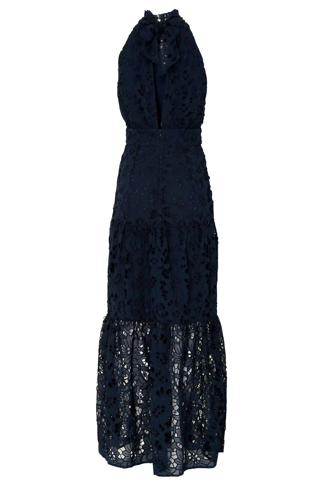 Navy Cut Work Organza Halterneck Maxi Dress