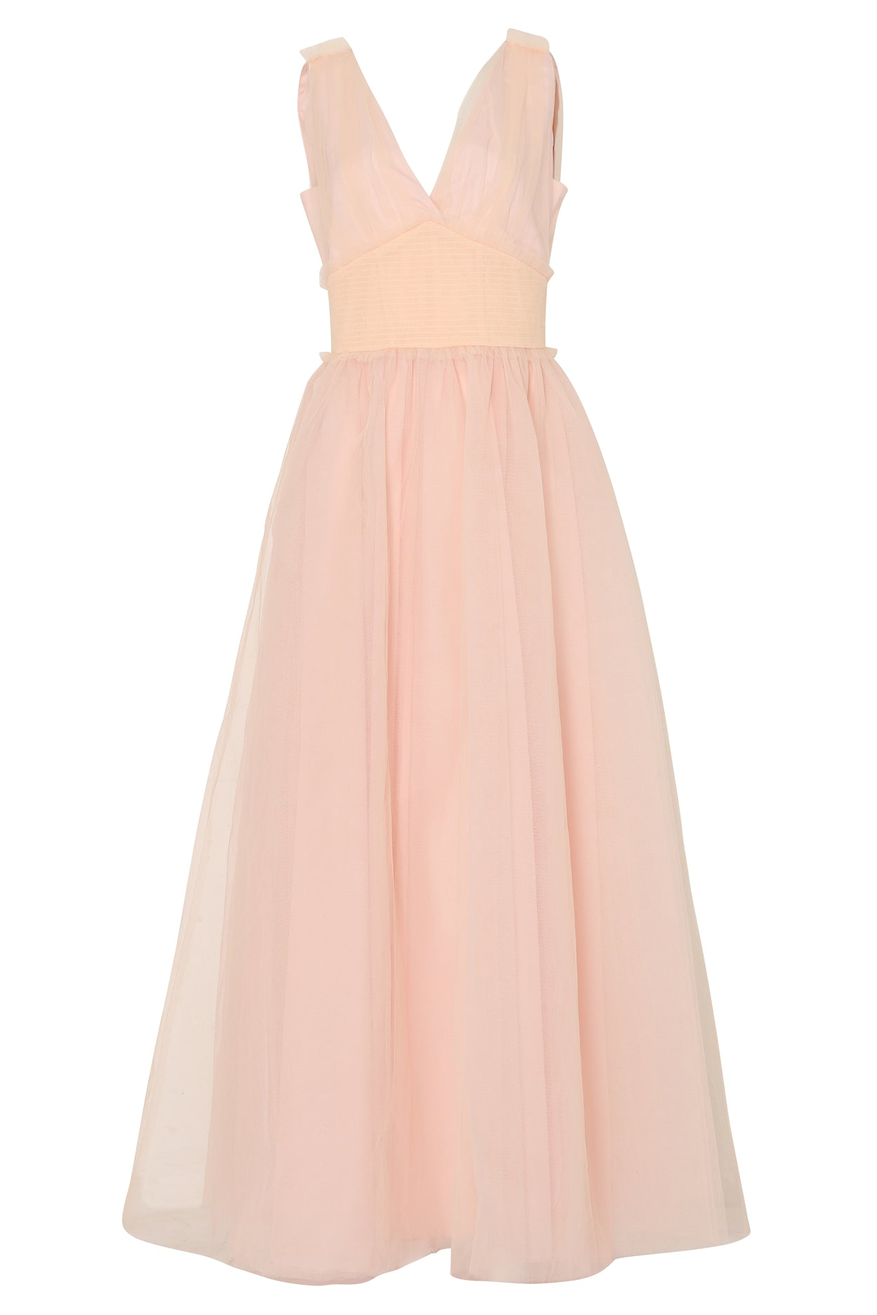 Soft Peach Tulle Full Length Gown