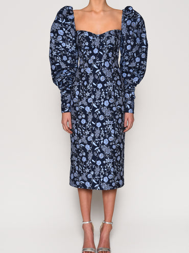 Navy Floral Brocade Exaggerated Sleeve Midi Dress