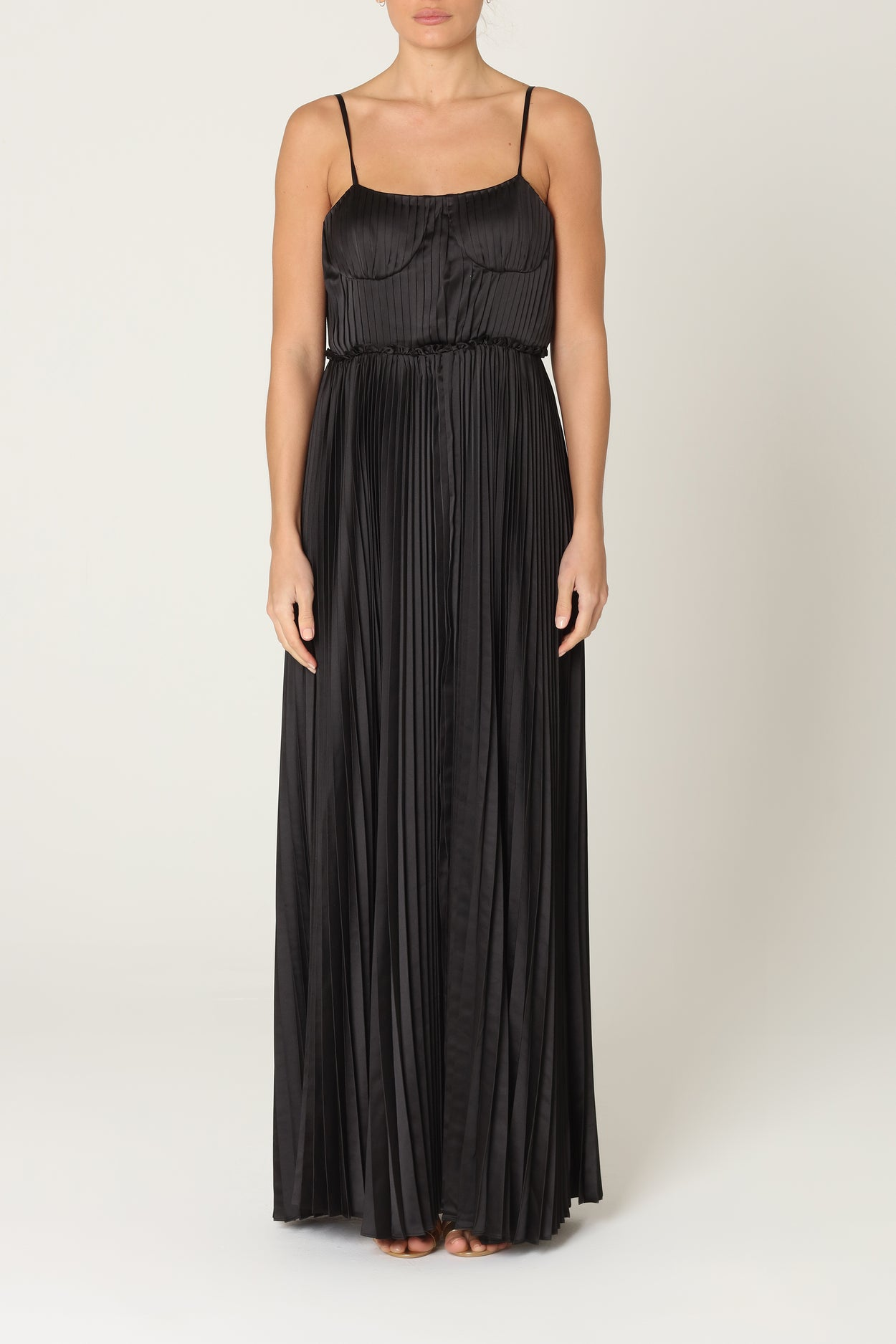 Black Satin Pleated Maxi Dress