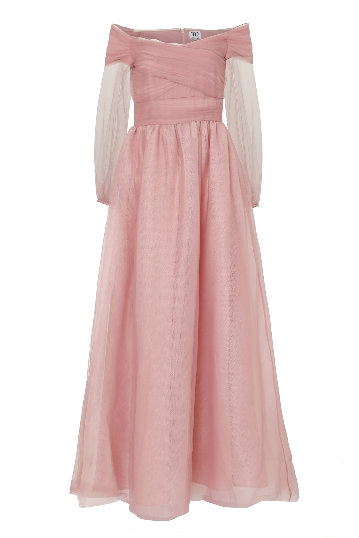 Dusty Mauve Tulle Maxi Dress
