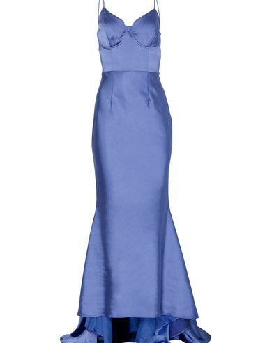 Corn Flower Blue Satin Cupped Maxi Dress