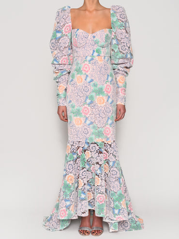 Pastel Floral Lace Floor Length Gown