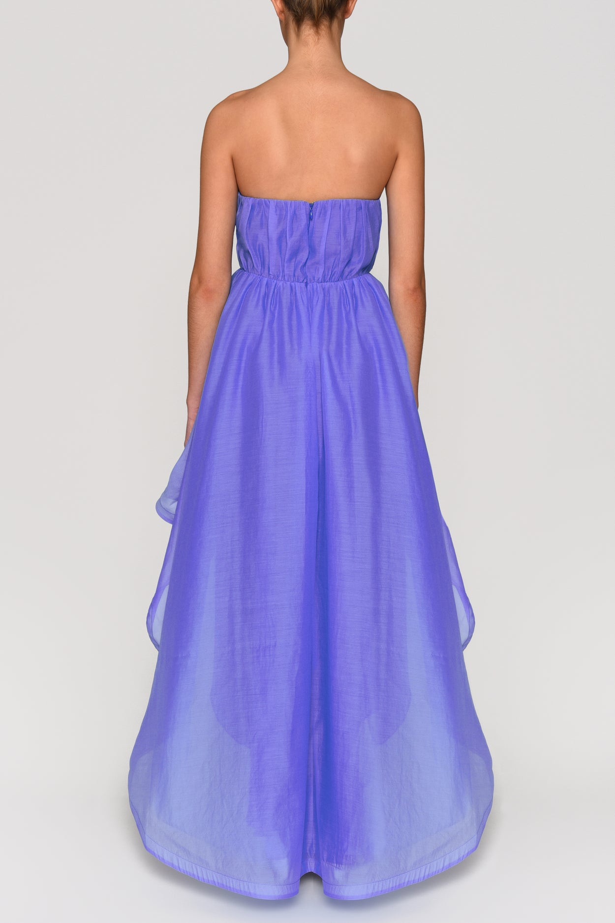 Corn Flower Blue Strapless Tulle Waterfall Hem Dress