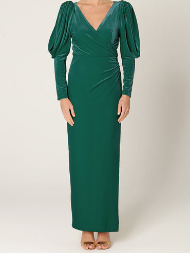 Emerald Green Velvet Statement Sleeve Maxi Dress