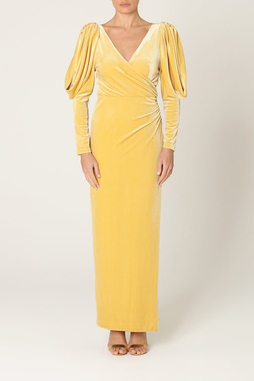 Light Gold Velvet Statement Sleeve Maxi Dress