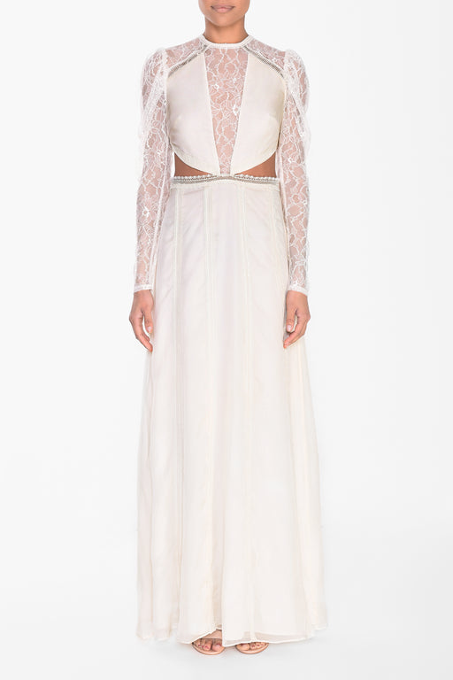 Cream Cut Out Lace Maxi Dress