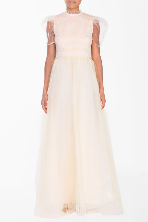Cream Tulle With Sheer Sleeves Maxi Dress