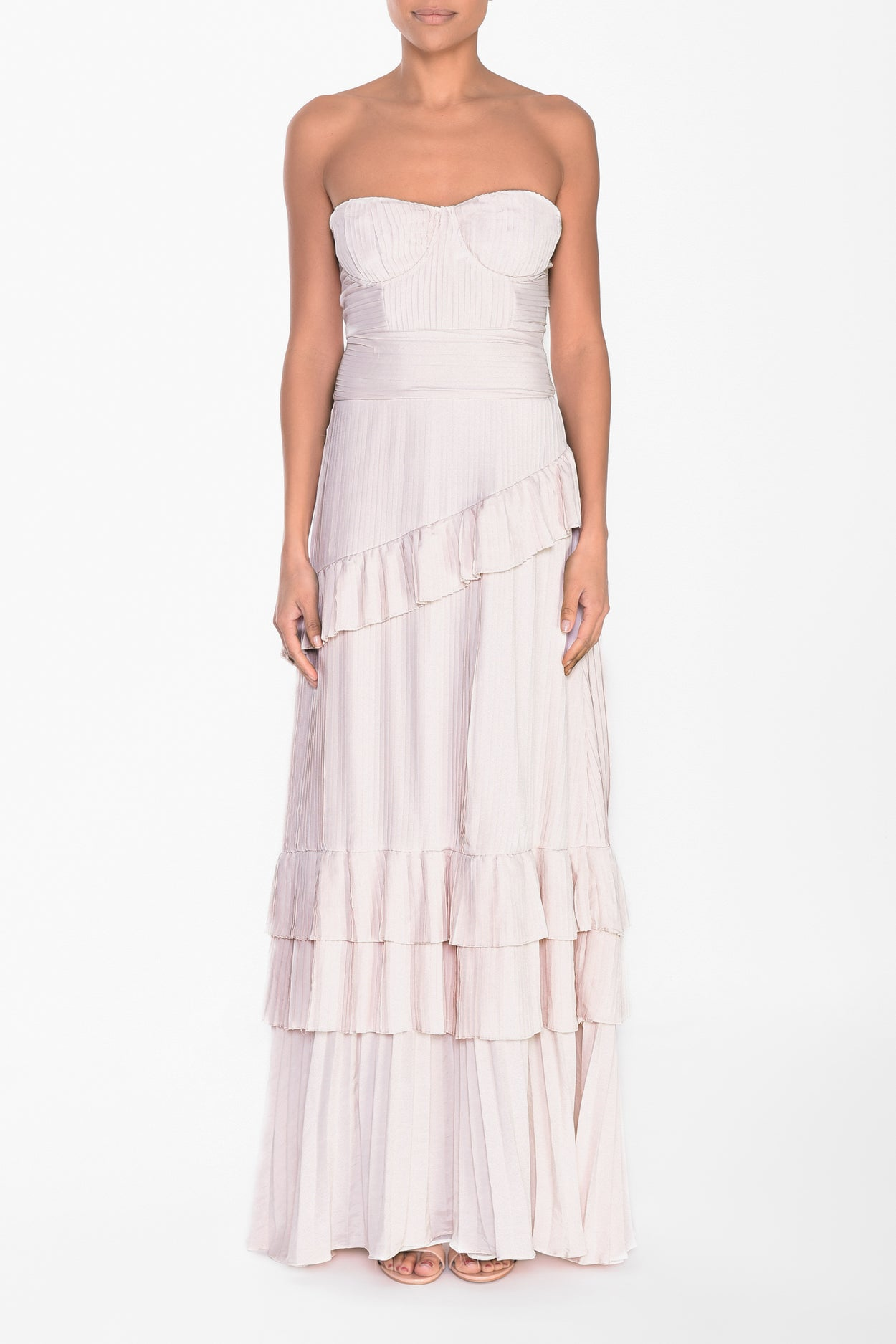 Sugar Pink Strapless Pleated Maxi Dress