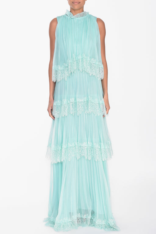 Pale Aqua Tiered Lace Maxi Dress