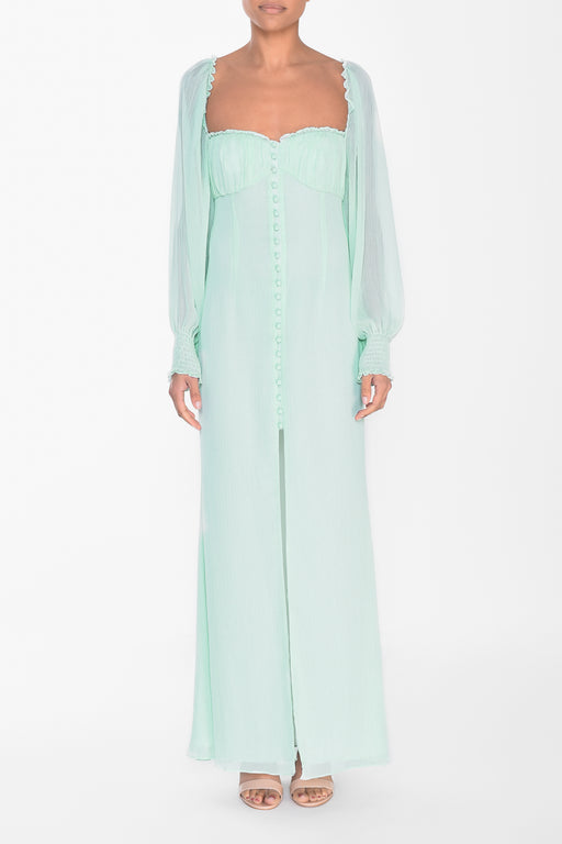 Pale Aqua Button Front Split Front Maxi Dress