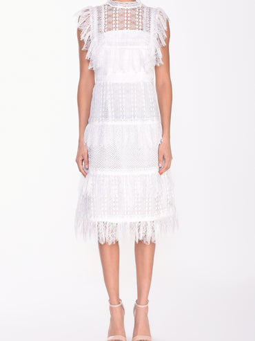 White Lace Tiered High Neck Midi Dress