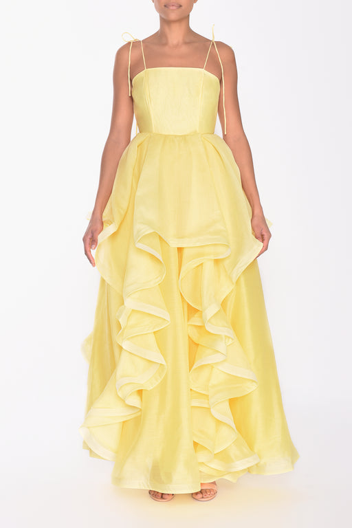 Pale Yellow Ruffled Layered Gown