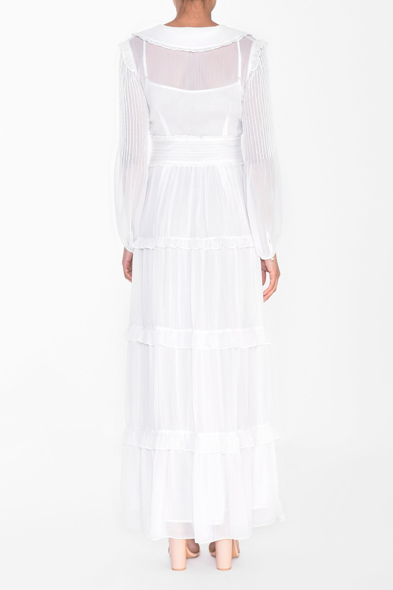 White Collared Smock Maxi Dress