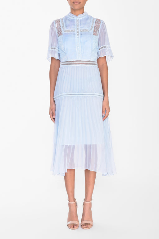 Icy Blue Pleated Midi Dress