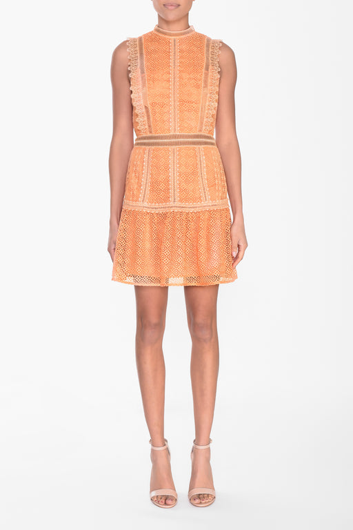 Light Orange Lace Mini Dress