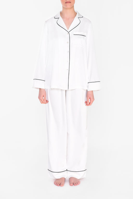 Ivory and Black Trim Full Length Pyjamas