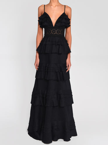 Black Linen Tiered Ruffle Maxi Dress