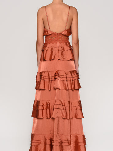 Rust Satin Plunge Front Tiered Ruffle Maxi Dress