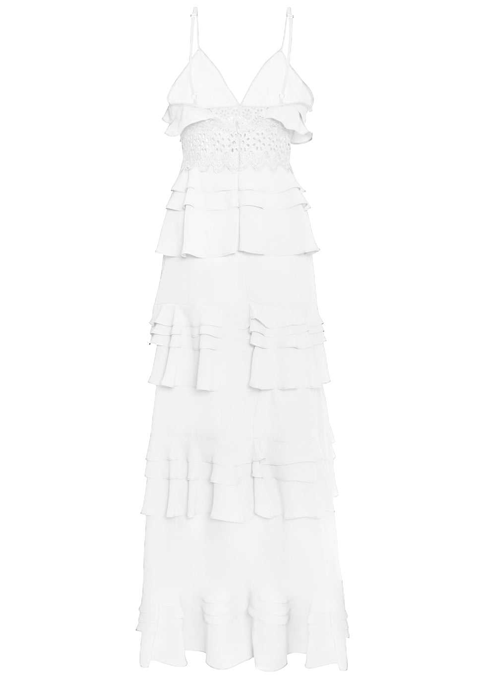 True Decadence White Cotton Tiered Ruffle Maxi Dress