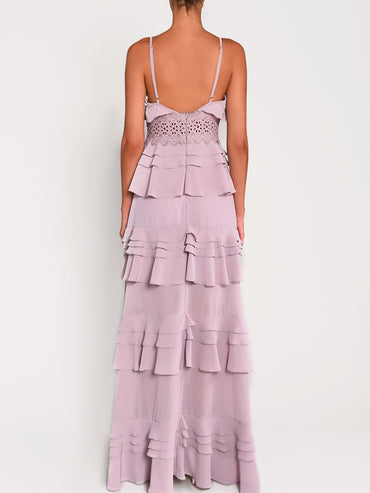 Dusty Lilac Plunge Front Tiered Ruffle Maxi Dress