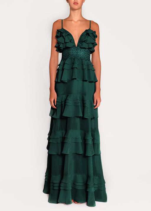 Pine Green Plunge Front Tiered Ruffle Maxi Dress