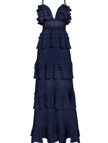 Navy Plunge Front Tiered Ruffle Maxi Dress