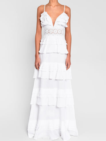 True Decadence White Linen Tiered Ruffle Maxi Dress