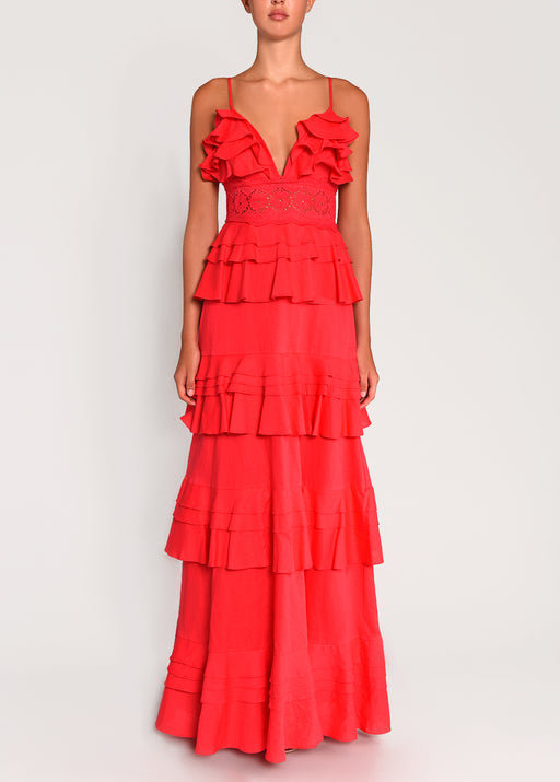Red Linen Tiered Ruffle Maxi Dress