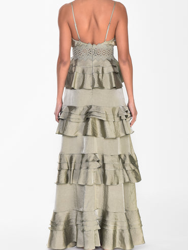 Sage Green Satin Plunge Front Tiered Ruffle Maxi Dress
