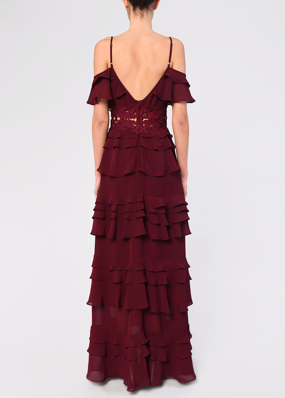 Burgundy Plunge Front Tiered Ruffle Maxi Dress
