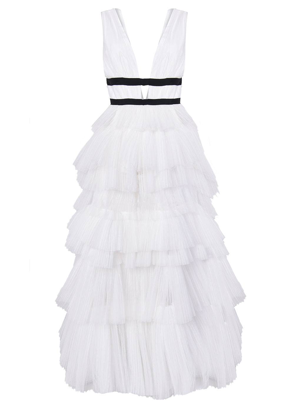 White Plunge Front Tulle Layered Maxi Dress